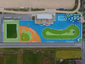 神照運動公園の多目的競技場と市民プールをドローン空撮
