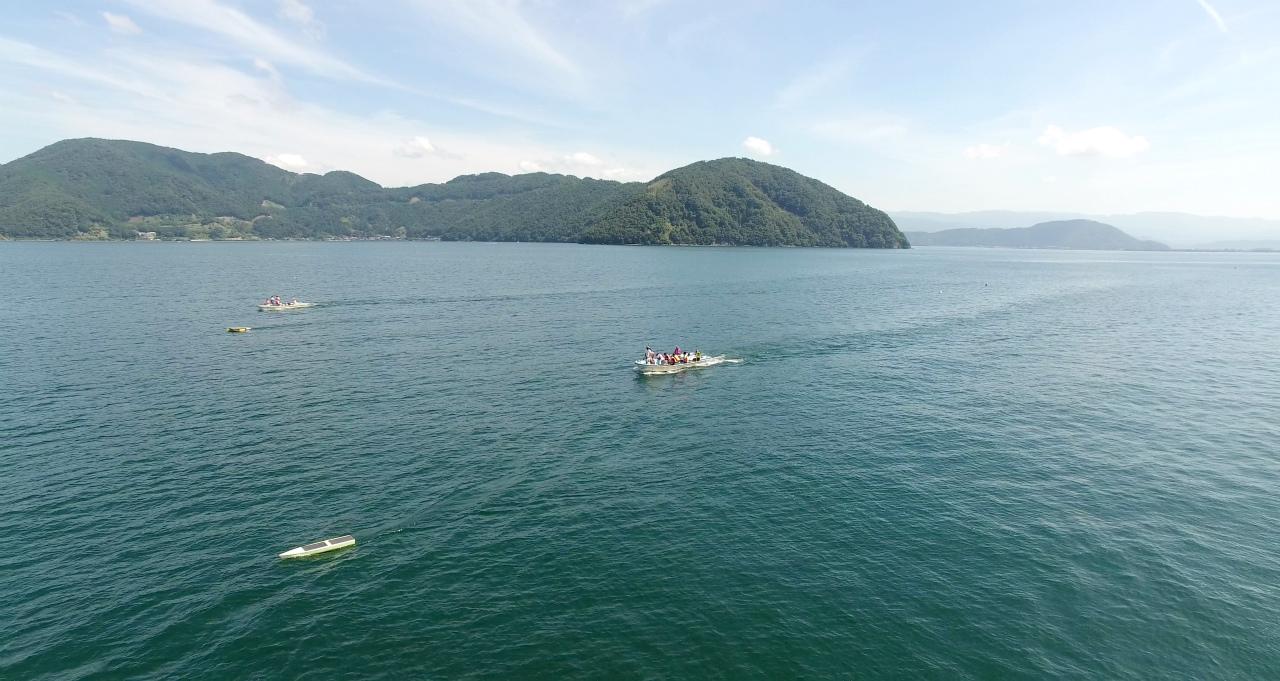 滋賀県高島市 サニービーチ 第21回びわ湖クルーレス・ソーラーボート大会 ドローン空撮