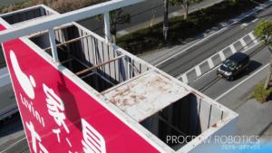 滋賀県長浜市内 高所看板、屋根 ドローン点検撮影
